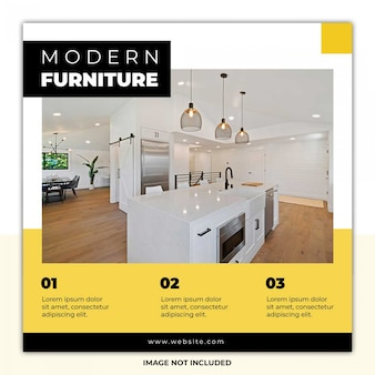 黒黄色の家具ソーシャルメディアテンプレートバナー