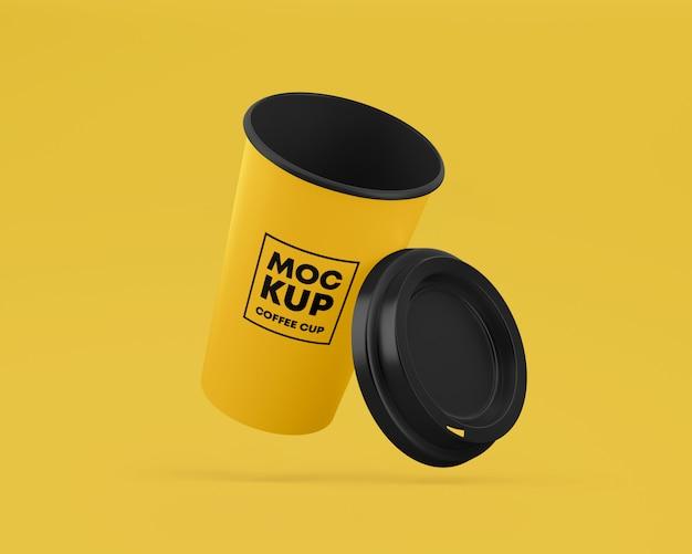 フライングペーパーコーヒーカップモックアップキャップ付き