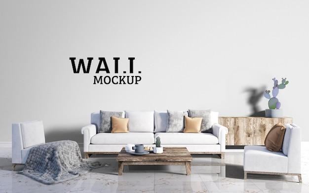 壁のモックアップ-木材の茶色と枕をアクセントにしたモダンなリビングルーム