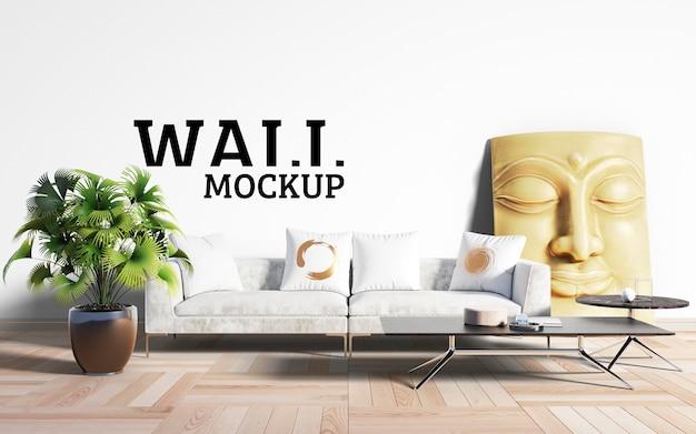 壁のモックアップ-リビングルームは主流として白を取ります