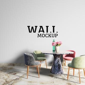 壁のモックアップ-ダイニングルームをカラフルな椅子で飾ります