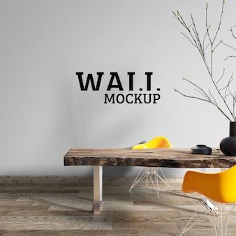 壁のモックアップ-ワークスペースは大まかな木製テーブルで装飾されています