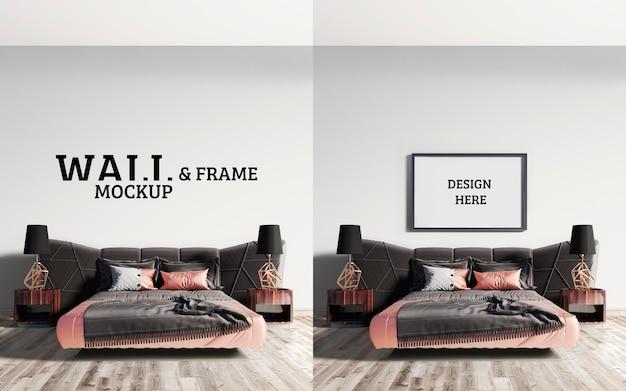 壁とフレームのモックアップ茶色とピンクオレンジを組み合わせた印象的なベッド