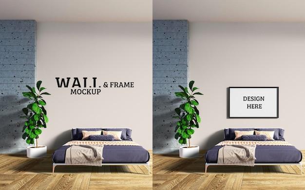 壁とフレームのモックアップパターン化されたベッドはモダンなラインです