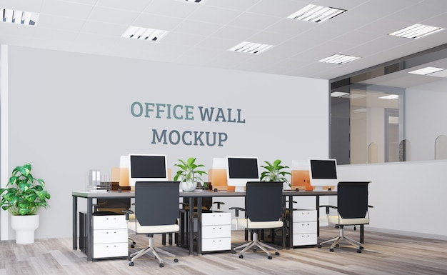 Современный офис с настенным макетом
