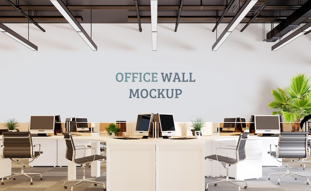 Современное рабочее пространство. настенный макет