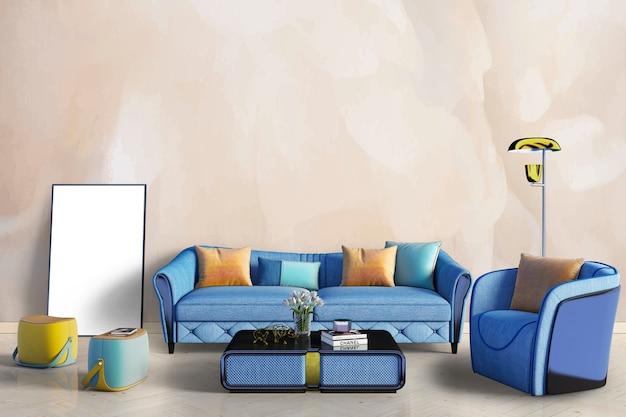 青いソファ付きのリビングルーム