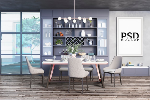 Столовая с декоративными шкафами и рамами для картин
