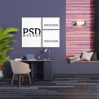 Рабочий кабинет с расслабляющими сиденьями и рамками для картин