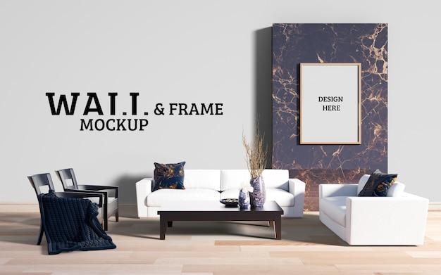 壁とフレームのモックアップ-リビングルームをモダンな家具で飾る
