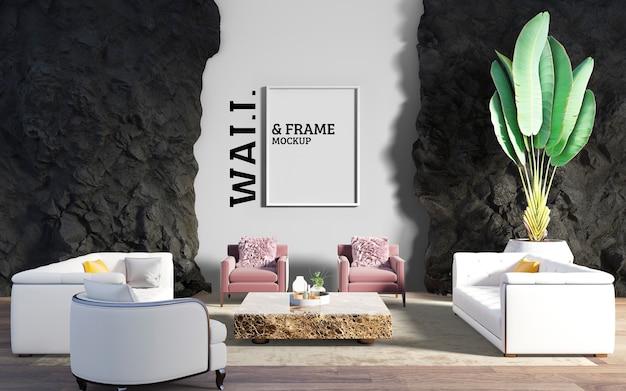 壁とフレームのモックアップ-家具と装飾スペースのあるリビングルーム