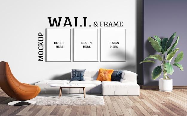 壁とフレームのモックアップ-モダンなリビングルーム