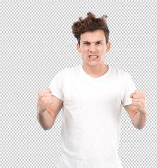 Молодой парень, сердитый жест