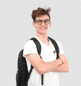 Удовлетворенный молодой студент позирует