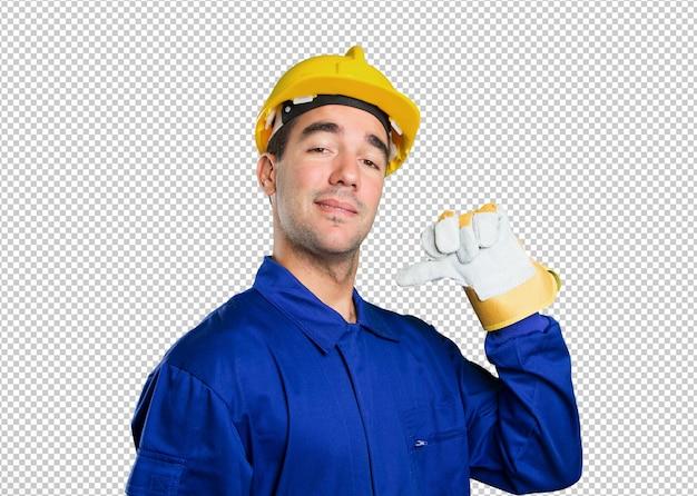 白い背景に誇らしげな労働者