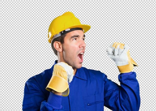 白い背景で祝う幸せな労働者