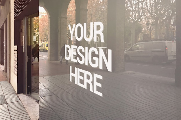 Уличный магазин стеклянный логотип макет