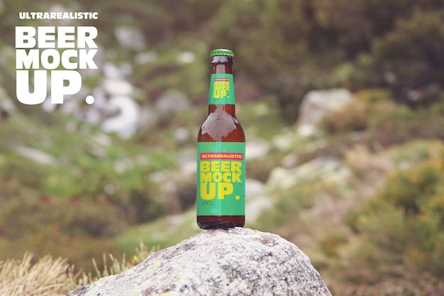 石のモックアップでビール