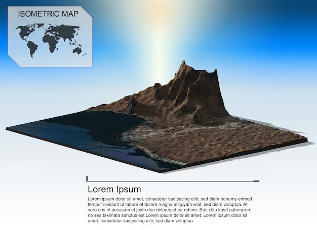 インフォグラフィックの等尺性仮想地形