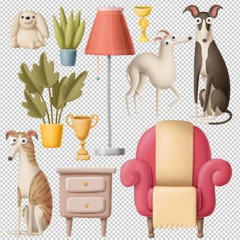 家具アイテムと犬のクリップアートセット