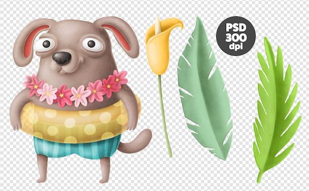 水泳サークルと犬のキャラクター