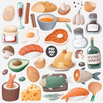 Коллекция клипартов еды
