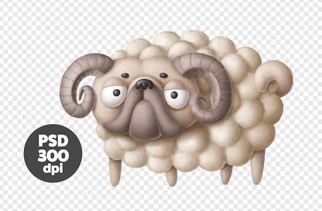牡羊座の星座、子羊の衣装で面白いパグ