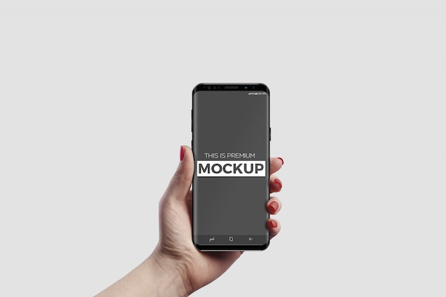 ハンドモックアップのスマートフォン
