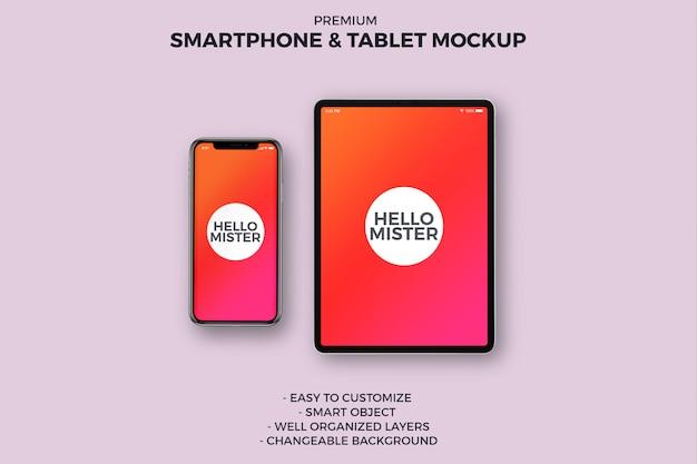 スマートフォンとタブレットのモックアップ