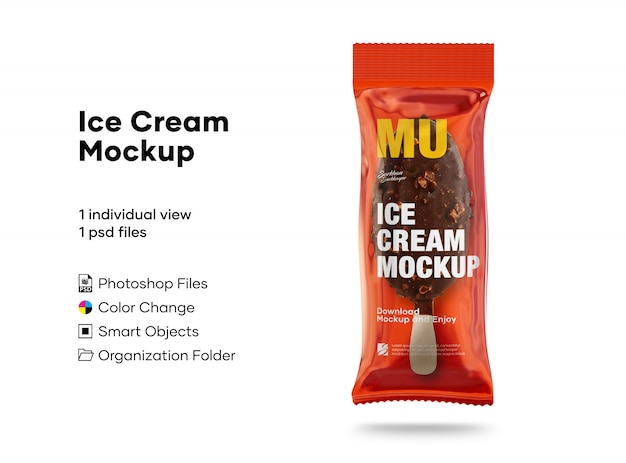 アイスクリームのモックアップ