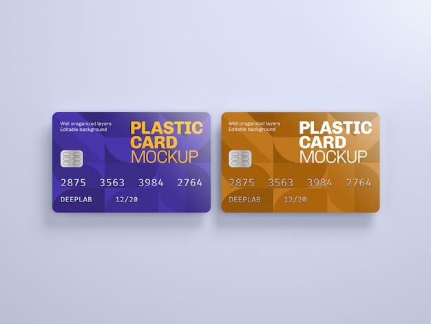 編集可能な背景色のプラスチックカードモックアップ
