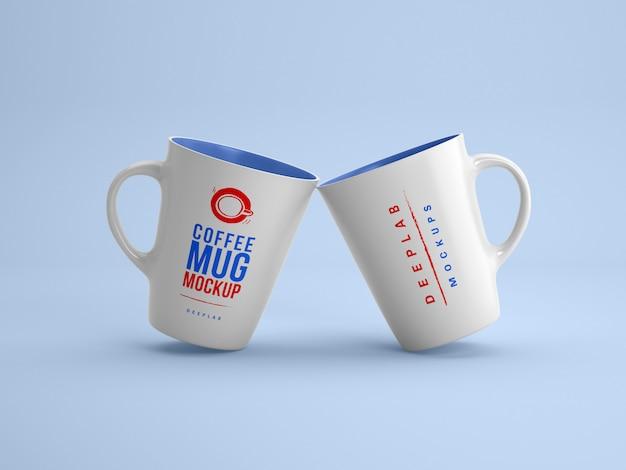 編集可能なカラーモックアップ付きの白いマグカップ