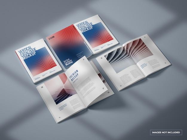 垂直カタログと雑誌のモックアップ