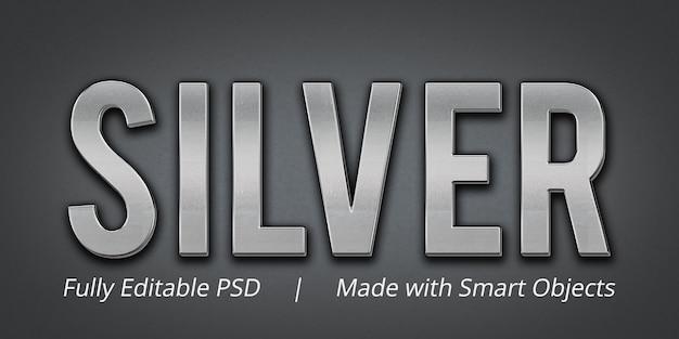 シルバーの編集可能なテキストスタイルエフェクトモックアップ