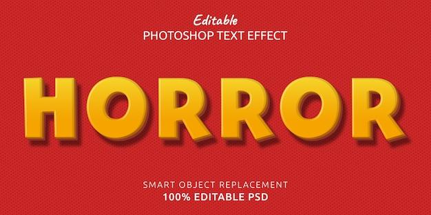Ужас редактируемый эффект стиля текста фотошопа