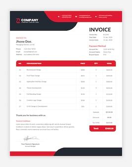 Современный красный и черный корпоративный, профессиональный шаблон бизнес-счета