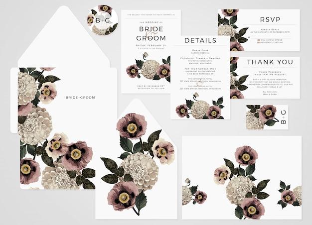 ブラッシュトーンのダリアとポピーの結婚式招待状セット。