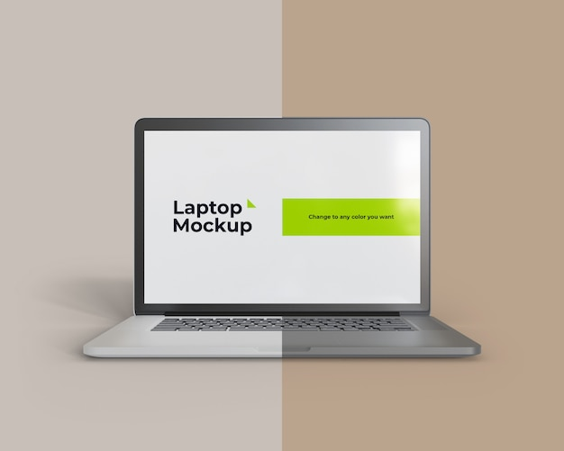 Макет ноутбука с изменяемым цветом на вид спереди