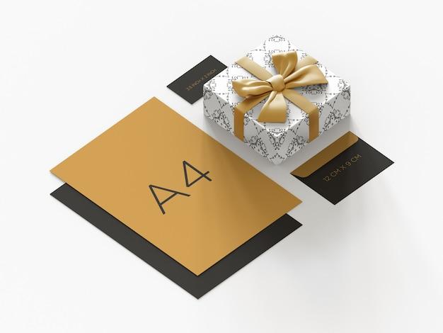 Премиум макет канцелярских товаров с подарком орфографическим видом