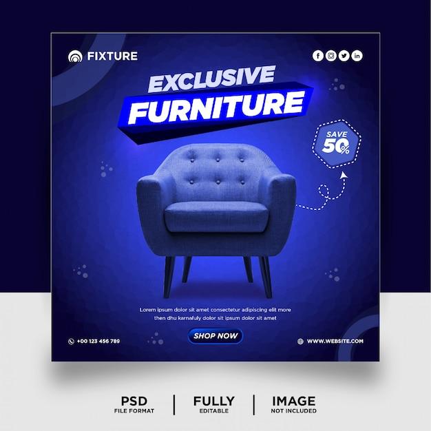 ダークブルー色の専用家具製品ソーシャルメディアポストバナー