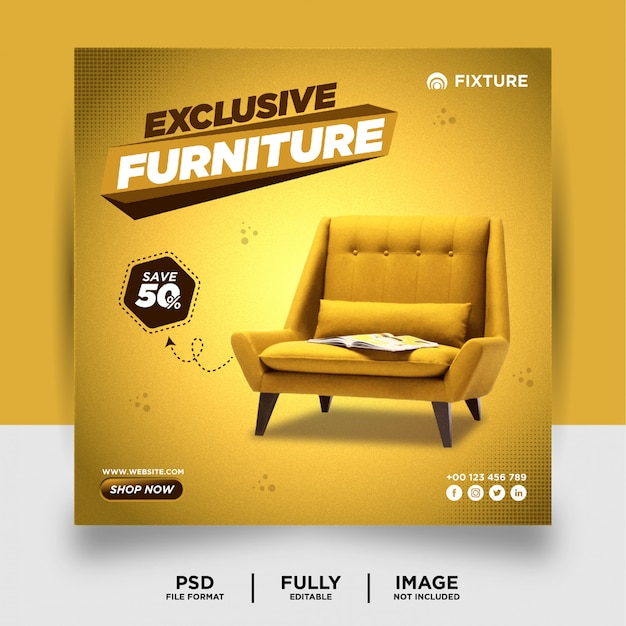 濃い黄色の専用家具製品ソーシャルメディアポストバナー