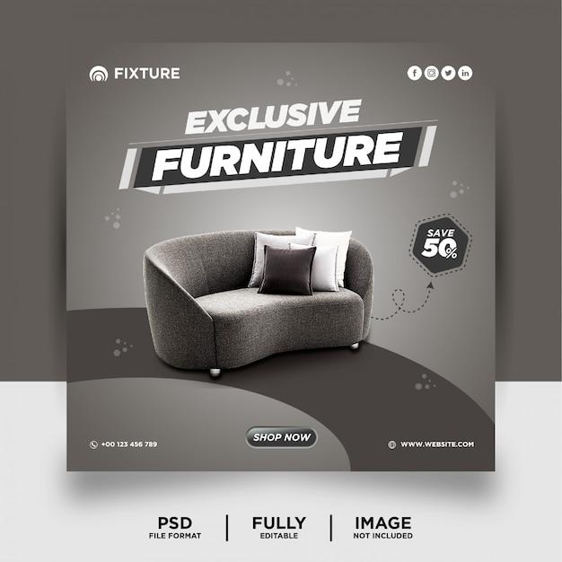 グレー色の専用家具製品ソーシャルメディアポストバナー
