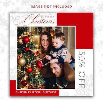 Рождественский шаблон предложения скидок для социальных сетей