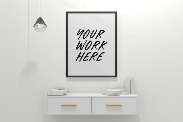 Черная рамка макет на стене