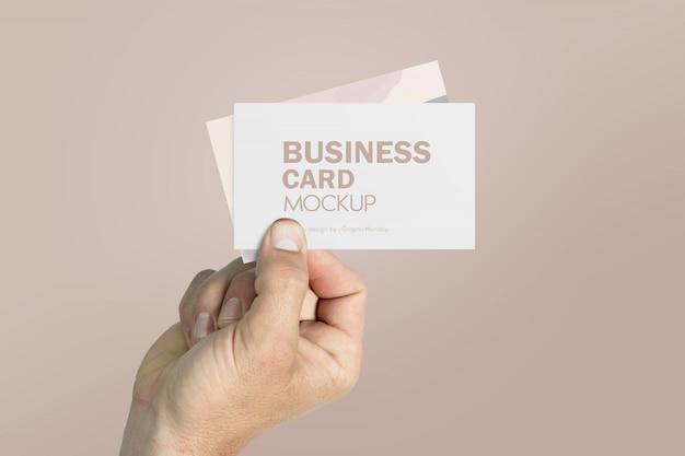 Визитная карточка макет с рукой