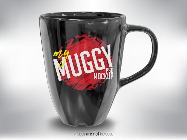 黒いマグカップの正面図