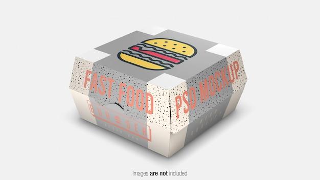 Фастфуд бургер упаковочная коробка макет