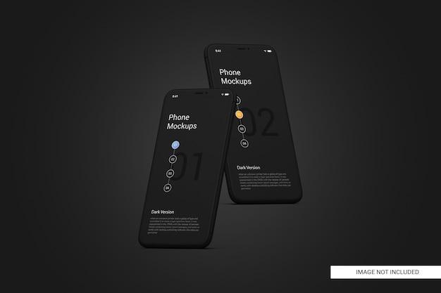 黒の携帯電話画面のモックアップ