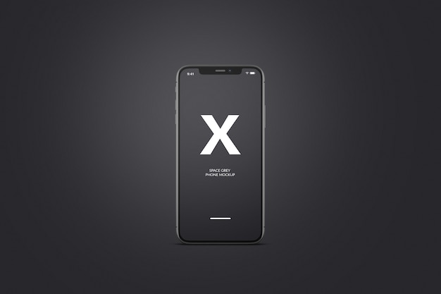 スペースグレーまたは黒の携帯電話のモックアップ