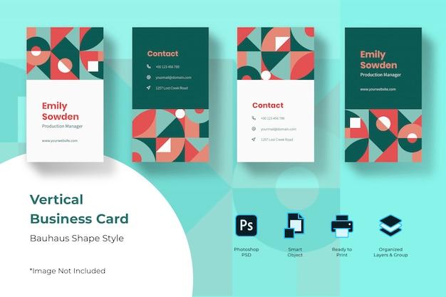 Баухауз вертикальный шаблон визитной карточки